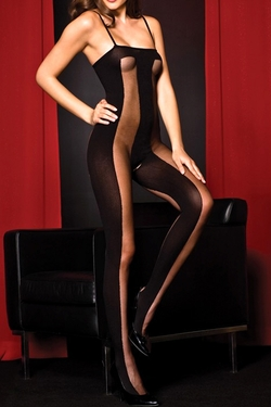 Sheer Large Vertical Stripe Spaghetti Strap Bodystocking - Black