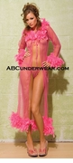Sheer Long Ribbon Tie Front Feather Trimmed Gown