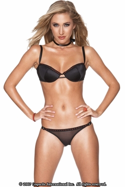 Sheer Lycra Bra & Panty Set with Rhinestone Accent