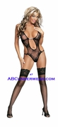 Sheer Teddy with Rhinestone and Lace