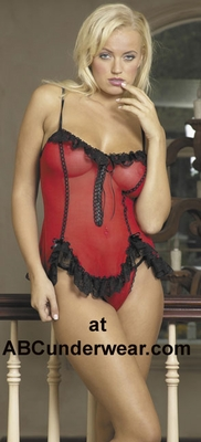 Silk Twist-Lace Baby Doll Lingerie