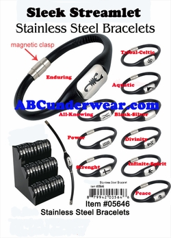 Sleek Streamlet Stainless Steel & Silicone Bracelet