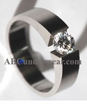 Solitaire Stainless Steel Tension Ring
