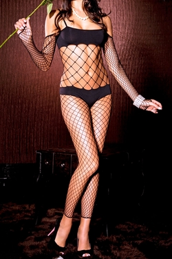 Spaghetti Strap Fishnet Bodystocking with Sleeves - Black