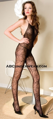 Spider Web Halter Neck Crotchless Bodystocking