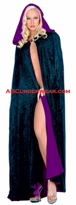 Velvet Full Length Cape With Hood-Reversible