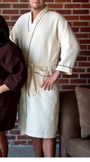 Waffle Kimono Robe Beige with Brown Piping