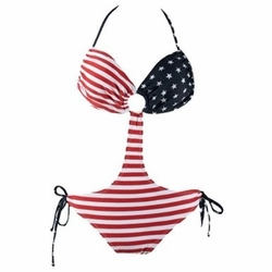 Women's American Flag Cut Out Tie Side Swimsuit
