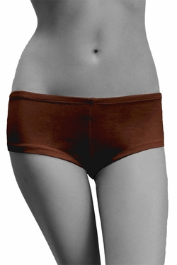 Womens Cotton Spandex Brief Short - Dark Chocolate Brown