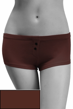 Womens Cotton Spandex Button-Up Boy Short - Dark Chocolate Brown