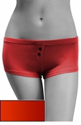 Womens Cotton Spandex Button-Up Boy Short - Fiery Red