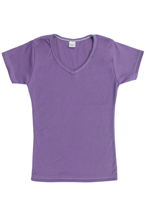 Cotton V-Neck T-Shirt - Light Lavender Purple