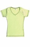 Womens Cotton V-Neck T-Shirt - Lime Green