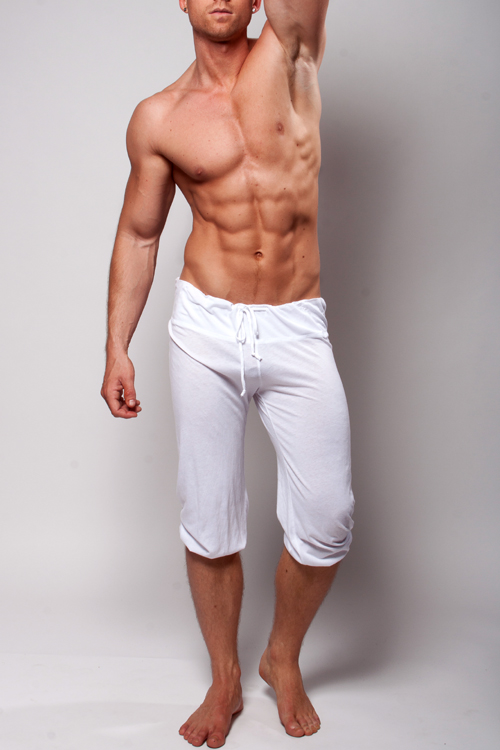 White Ymla Capri Shorts Pilates Yoga Or Lounge Pants For Men