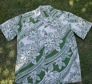 103 Hawaiian Shirt  Green & White M-2XL