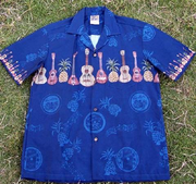 109 Hawaii shirt<br>Blue Ukulele. M-2XL