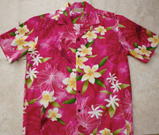 130 Hawaii shirt Pink Plumeria flower , M-2XL