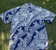 132 Hawaii shirt Blue & White, M-2XL