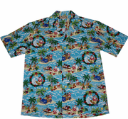 157 Hawaiian Christmas Santa shirts  Red or blue, M to 2XL