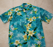 177 Hawaii shirt, Blue Plumeria flower M-3XL