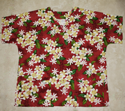 #4 Red with Yellow Plumeria <br>(100% cotton)