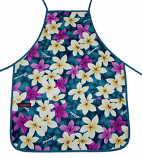 Aloha Apron - Aqua Yellow Flower