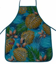 Hawaii Apron, Aqua Blue Leaf