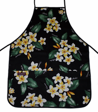 Hawaii Apron - Black plumeria