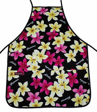 Hawaii Aprons - Black Yellow Flower