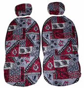 Separated Headrest<br>Hawaii car seat cover<br>#22 Maroon Tapa<br>(quilted)