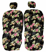 Hawaii Car Seat Cover<br>Separated Headrest, Black Bird of Paradise<br> (Non-quilted)