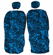 Hawaii Seat Cover<br>Separated Headrest<br>126 Blue Black Tapa<br>(Non-quilted)