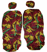 Hawaii Seat Cover<br>Separated Headrest, Rasta Turtle<br> (Non-quilted)