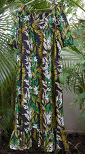 Hawaiian muumuu<br>Black /yellow plumeria, XL 3XL