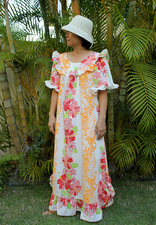 Hawaiian muumuu <br>yellow lei, 3XL
