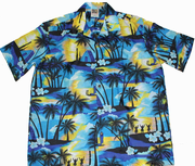 Hawaiian Party Shirt 100% polyester<br>#6 Blue Palm tree, M to 2XL