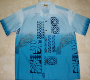 Hawaiian Party Shirt <br>#7 Blue Tapa