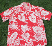 Hawaiian Party Shirt #5 Red / white flower