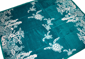 Hawaiian See Turtle Soft Micro Plush Throw<br>Turquoise Color