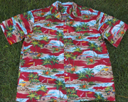 Hawaiian Shirt 100% polyester<br>#30 Woody Red