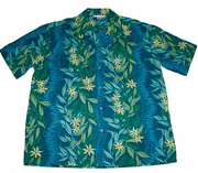 Hawaiian Shirt 100% polyester<br> #51 Blue /blue flower