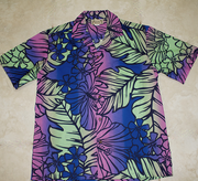 Hawaiian Shirt<br> #13 Purple /green leis, M-XL