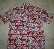 Hawaiian Shirt #18 Maroon leaf, L