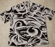 Hawaiian Shirt #28 Black and gray wave
