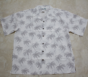 Hawaiian Shirt<br> #35 Off  White palm (100% polyester)