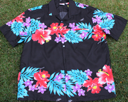 Hawaiian Shirt 100% Polyester<br>#47 Colorful Black, size 4XL