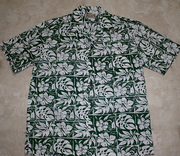 Hawaiian Shirt 50% cotton /50%polyester<br>#16 Green leaf