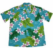 Hawaiian Shirt 50% cotton /50%polyester<br>#16 Pink Plumeria flower