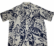 Light weight Rayon Hawaiian Shirt<br>#17 Off white /Navy. M-2XL