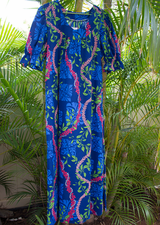Long Muumuu<br>Navy Flower leis